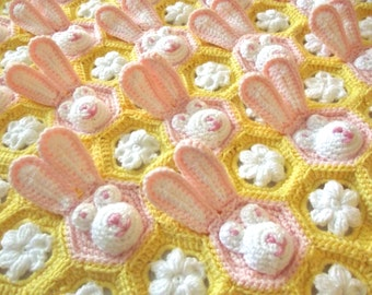Crochet Easter Baby Blanket PDF PATTERN Download - Baby Girl Feel/Learn Blanket, Peekaboo Stroller Blanket - Bunny, Flower Crochet Pattern