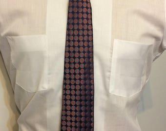 Vintage MENS Maurice L Rothschild red & blue polka dot silk skinny tie, circa 1950s-60s