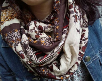 Woman Snood scarf tube scarf, viscose, Brown and beige tones