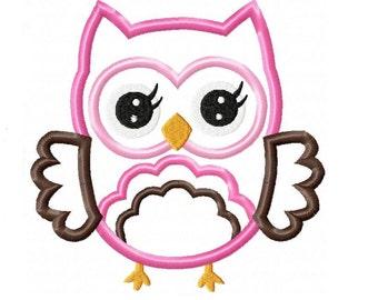 Cute Girl Owl Applique