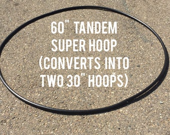 "Tandem Body Rocker 60"" Super Hoop - naked or taped - Converts into 30"" double hula hoops - sequin sparkle grip"