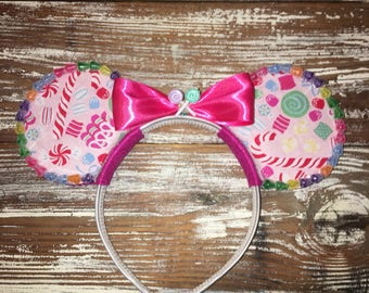 Christmas Ears, Holiday Ears, Christmas Candy Ears, Mickey Inspired Ears, Disney Inspired Ears, Mouse Ears