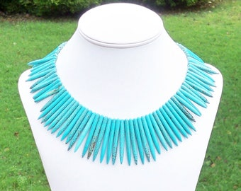 Turquoise Spike Necklace Spike Gemstone Necklace Tribal Necklace Chunky Turquoise Necklace Ethnic Necklace Turquoise Statement Necklace Aqua