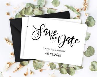 "Save The Date Cards - 5"" x 7"" Vintage Script Wedding Announcement Cards - Save The Dates - Custom Save the Dates - Photo Cards - #satd-269"