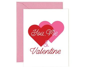 Valentine Card, YOU, ME & VALENTINE, Romantic. Printable. Immediate Download.
