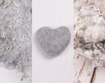 Texture Layer, Pebble Grey set of 3 newborn props, textured blanket, needle felting, wool felt, wool blanket, photo prop blanket, handmade