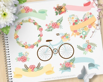 Springtime Bicycles Clipart, Flower Wreaths & Laurels, boho, wedding clipart, ribbons, Commercial Use, Vector clip art, SVG Cut Files