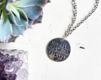 Not All Who Wander Are Lost // Wanderlust Necklace // Wanderlust Jewelry // Explore // Travel Necklace // Quote Necklace // Compass Necklace