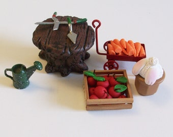 Fairy or gnome Garden miniature wood look table, garden tools, vegetables and a bunny butt