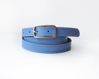 Leather belt for women, Sky blue leather belt with two colour threads stitching. ALL SIZES