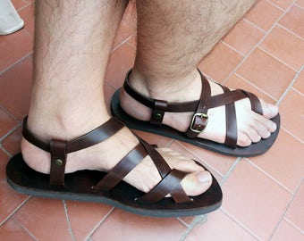 Brown  Leather Hand made Sandals Flip flops for Men and Women gladiator