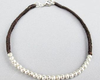 Dark Brown Macrame Ankle Bracelet with Bead