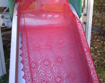 """Hand knitted Haapsalu shawl """"The wheel of the sun"""", traditional Estonian lace, 100% merino. Bright red. Ready to ship."""