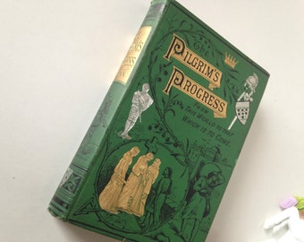 Antique Book: The Pilgrim's Progress by John Bunyan, undated, Children's Book, Religious