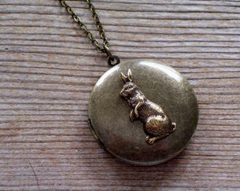 Brass Rabbit Locket, Rustic Rabbit Locket, Antiqued Brass Bunny Locket, Easter Bunny Necklace, Dark Brass Locket, Primitive Pendant Necklace