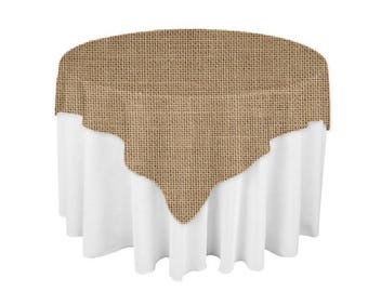 Burlap 60 X 60 Square Overlay 100% Woven Polyester Tablecloth For Banquets,  Weddings U0026 Parties