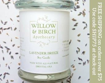 Lavender Breeze All Natural Soy Candle, Home Fragrance, Floral Fragrance, Lavender Candle, Lavender Mint, Summer Scent, Scented Candle