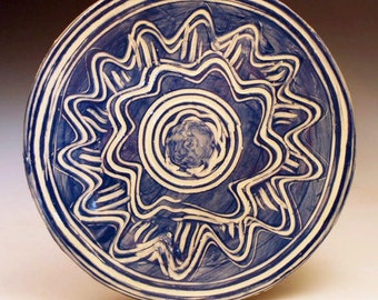 Pottery Serving Plate in Blue and Cream - Handmade Slab Built Ceramic