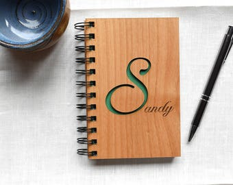 Personalized Wooden Notebook with Monogram Initial. Spiral Bound Wooden Journal Graduation Gift.