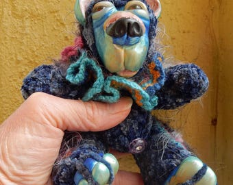 OOAK Artist Bear-BlueBerry-Crochet Thread and Clay Bear-Carla Smale