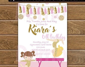 50%Off Gymnastic Pink and Gold Invitation, Gymnastic Party, Gymnastic Girl, Gymnastic Invitation, Girl Invitation, Party Birthday, Gymnastic