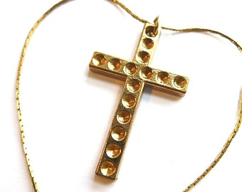VINTAGE GOLDTONE Cross & Neck Chain, Everyday Gold Cross Pendant, Gold Cross with Neck Chain, Goldtone Cross Necklace, Goldtone Cross