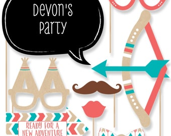 Be Brave Little One - Photo Booth Props - Kit w/Mustache, Hat, Bow Tie, Glasses & Talk Bubbles - Aztec Tribal - Boho Chic - 20 Pcs. Set