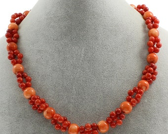 Authentic Red coral necklace polished in the shape of spheres