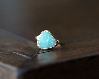 Druzy Ring , Stacking Triangle Mint Green Gemstone in Gold , Rose Gold , Silver , Spring Trends - Buttermint