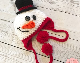 READY TO SHIP Snowman Holiday Christmas Winter Infant Newborn Baby Outfit Beanie Hat Bow Crochet Photography Photo Prop