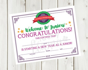 Girl Scouts Investiture/Rededication Certificate- Welcome to Juniors