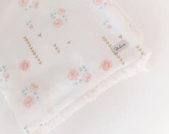 Baby GIRLS Blanket - LOVEY Blanket / Rose Floral Lovey/ Fur Baby Blanket / Mini Baby Blanket / Baby Girl Nursery Blanket -READY to Ship