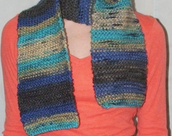 Simple Knit Blues Scarf