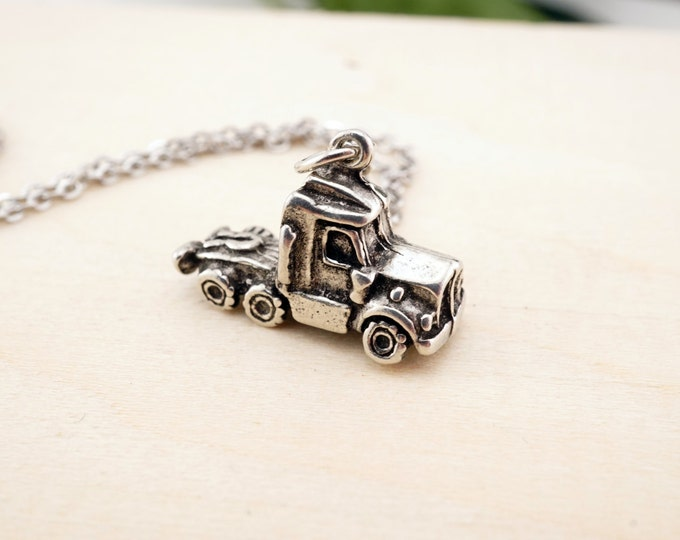 Semi Truck Necklace - 18 wheeler necklace - semi truck jewelry - truckers wife jewelry - my heart belongs to a trucker - i love my trucker