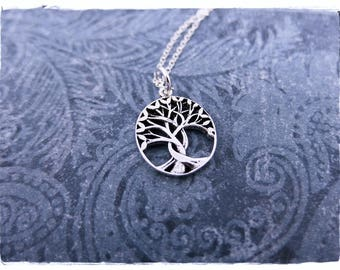 Silver Twisted Rowan Tree Necklace - Sterling Silver Twisted Rowan Tree Charm on a Delicate Sterling Silver Cable Chain or Charm Only