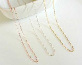 Plain Chain Necklace, Simple Layering Necklace, Sterling Silver 14k Gold Fill Rose Gold Fill Chain Necklace, Delicate Thin Chain Necklace