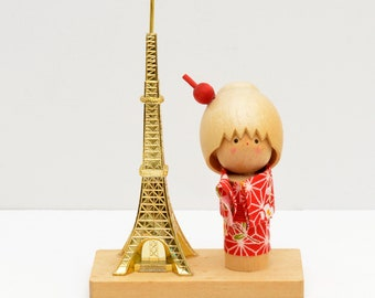 Vintage Eiffel Tower Paris Kokeshi Doll Japanese