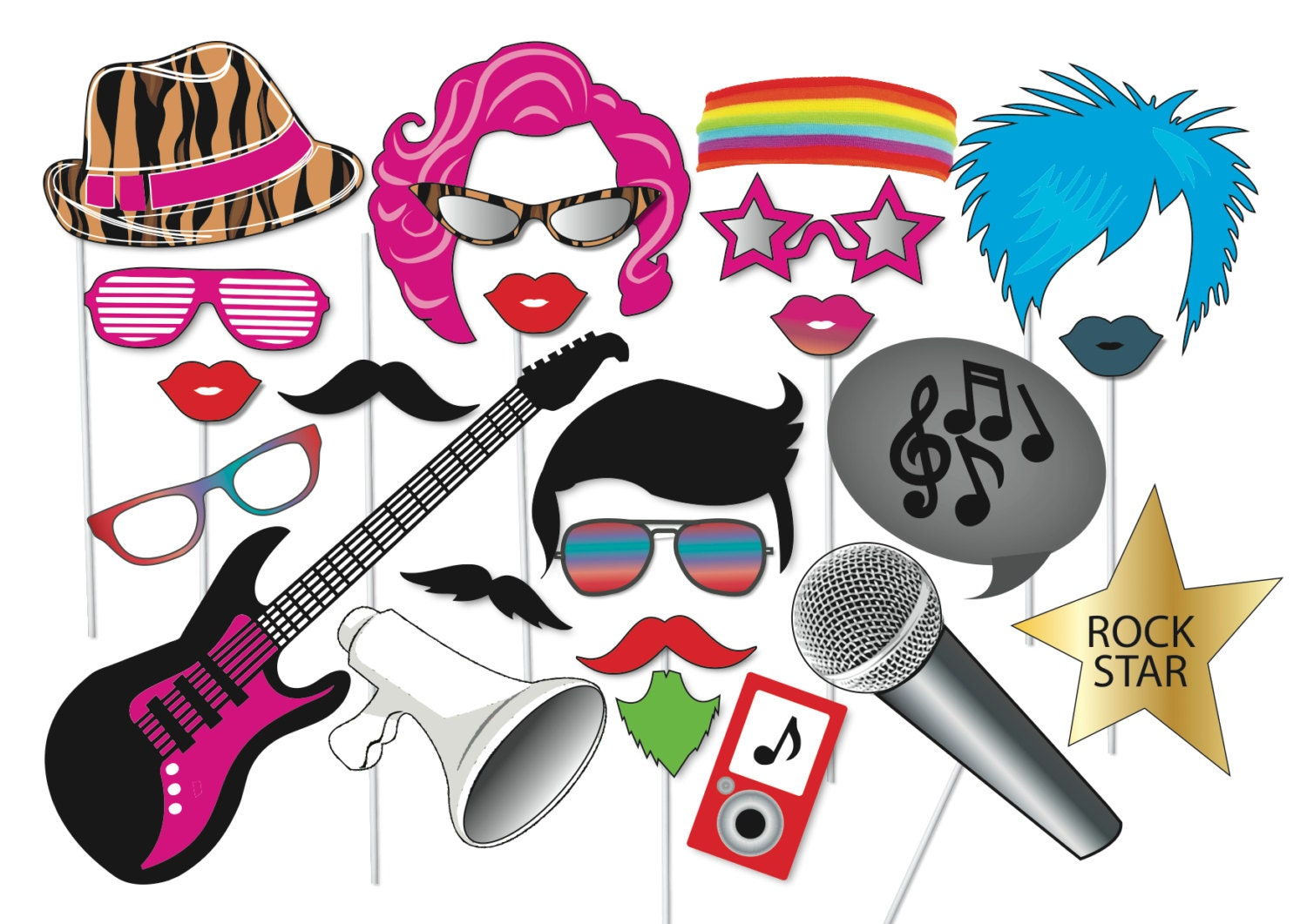 popstar and rockstar party photo booth props set 24 piece rh etsy com