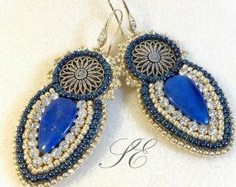 Earrings with lapis lazuli and rhinestones, lapis Lazuli Earrings, handmade OOAK.