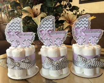 Lavender and grey chevron baby shower centerpieces/Girl baby shower centerpieces/Baby Carriage centerpieces:Lavender and grey diaper cakes