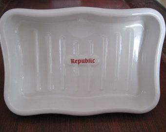 """Vintage """"Republic"""" porcelain sink mount soap dish"""