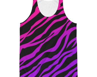 80s Clothing Neon Rainbow Ombre Zebra Print Tank Top Punk Lisa Frank Pin Up Rockabilly Retro 80s Kawaii Clothing Rave Clothing Burning Man
