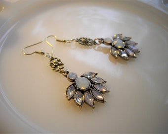 White Rhinestone Goldtone Dangle Earring With Opal Faceted Rhinestones On A French Ear Wire With Vintage Appeal Hand Assembled