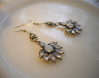 Titanic Inspired White Rhinestone Goldtone Dangle Earring With White Opal Faceted Rhinestones On A French Ear Wire With Vintage Appeal
