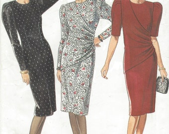 90s Womens Fitted Dress with Wrap Overlay New Look Sewing Pattern 6195 Size 8 10 12 14 16 18 Bust 31 1/2 to 40 UnCut