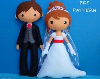 PDF sewing pattern to make a Bride and Groom.
