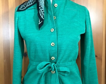 Vintage 60s 70s Jacket Skirt Suit Woolite Minty Green Small -6-