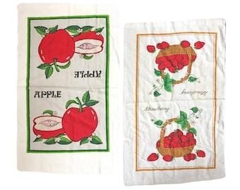 Set of Two Midcentury Printed Fruit Towels