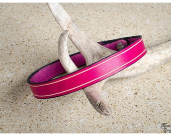 Pink leather choker / double wrap bracelet with vegtan bevel