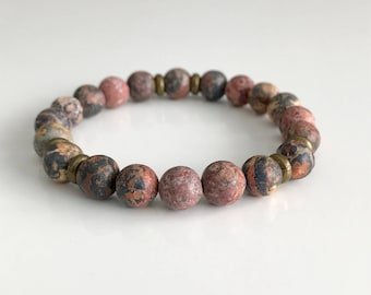 Pink jasper gemstone bracelet with gold spacer bead, natural 8mm beads